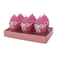 Fantastic Craft Egg Ribbon Tea Light Novelty Candle Set Color: Pink