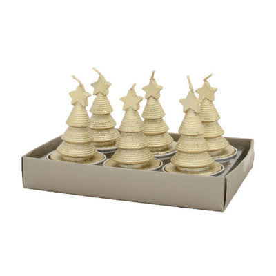 Fantastic Craft Swirling Cone Tree Tea Light Novelty Candle Color: Champagne