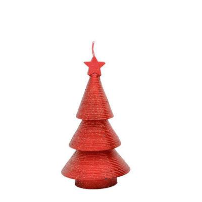 Fantastic Craft Swirling Cone Tree Novelty Candle Color: Red, Size: 7.5