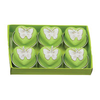 Fantastic Craft Butterfly Heart Tea Light Novelty Candle Color: Green