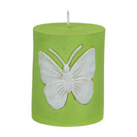Fantastic Craft Butterfly Pillar Candle Color: Green, Size: 5
