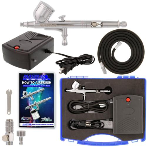 Master Airbrush New Precision Dual-Action AIRBRUSH AIR COMPRESSOR KIT SET Craft Cake Hobby Paint