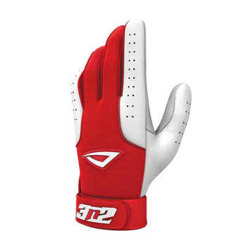3N2 Sports 3N2 Sheepskin Leather Pro Batting Gloves 1 Pair Medium Red/White Medium/Red White