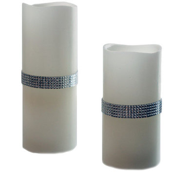 River Of Goods 2 Piece Beaded Jewels Flameless Candle Set Color: Silver