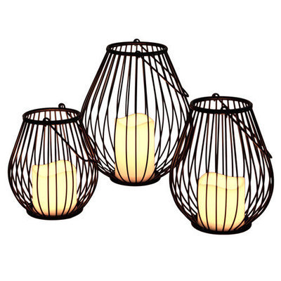 River of Goods Modern Indoor/ Outdoor Iron Lanterns with Flameless Candles (Set of 3)