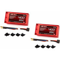 Venom 65C 2S 4100mAh 7.4v LiPO Battery Shorty Pack ROAR with UNI Plug x2 Packs
