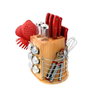 Ragalta 31 Piece Purelife Carousel Knife Set Color: Red