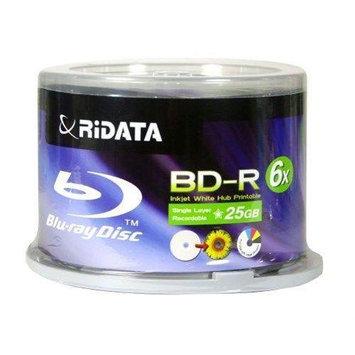 Ritek RiDATA 25GB 4X BD-R Inkjet white hub-printable 50 Packs Disc Model BDR-254-RDIWN-CB50