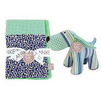 Trend Lab Apple Berry Patchwork Blanket and Stuffed Puppy