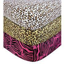 Test Trend-Lab 3PK Flannel Crib Sheet - Animal Prints