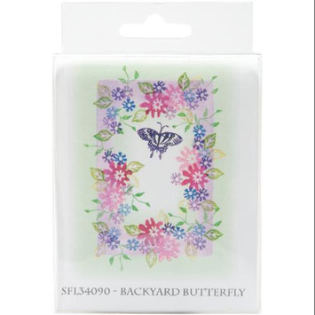 Rubber Stamp Tapestry SFL34090 5-Piece Mounted Rubber Stamp Set, Backyard Butterfly 202313