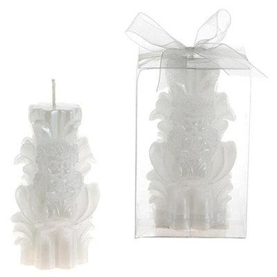 DDI 1765871 Angel Praying on Carved Pillar Candle - White