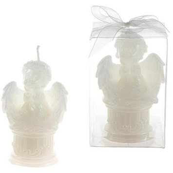 DDI 1765877 Baby Angel Sitting on Round Column Candle - White