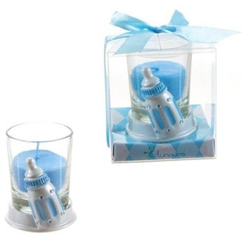 DDI 1765885 Baby Bottle Poly Resin Candle Set - Blue