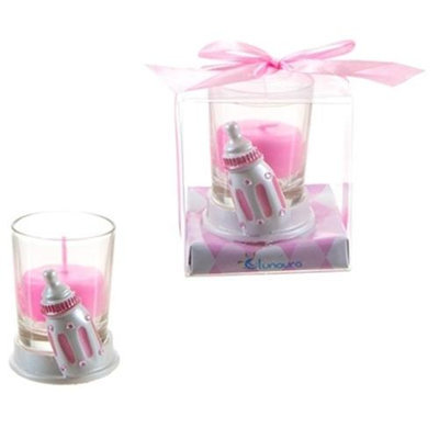 DDI 1765886 Baby Bottle Poly Resin Candle Set - Pink