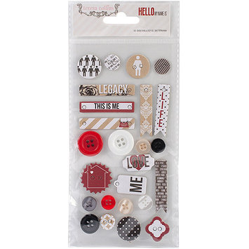 Teresa Collins NOTM382427 - Hello My Name Is Decorative Buttons & Chipboard