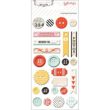 Teresa Collins Something Wonderful Decorative Buttons & Chipboard-25 Pieces
