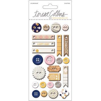 Teresa Collins Life Emporium Decorative Buttons & Chipboard-25 Pieces