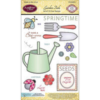 JustRite Papercraft Clear Stamp Set 4inX6in-Garden Tools 19pc