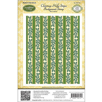 Justrite Stampers Cling Background Stamp-Christmas Holly Stripes