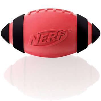 Little Gifts, Inc. Nerf Dog Squeaker Rubber Football Dog Toy Red