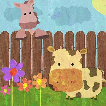 Green Leaf Art Animal Farm Fence Canvas Wall Art