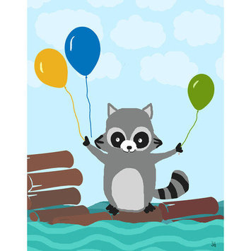 Green Leaf Art Animals With Balloons Canvas Wall Art