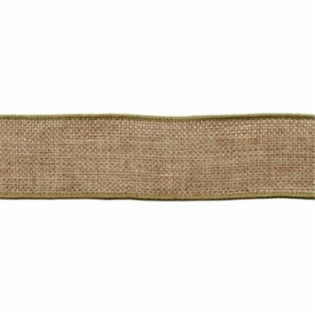 May Arts Wired Faux Burlap Ribbon 1-1/2X25yd-Natural Pack Of 25
