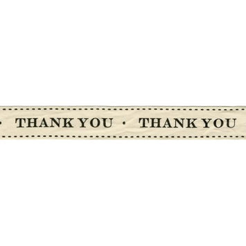 May Arts 413-34-17 Ivory Print .75 in. X30 Yards-Thank You
