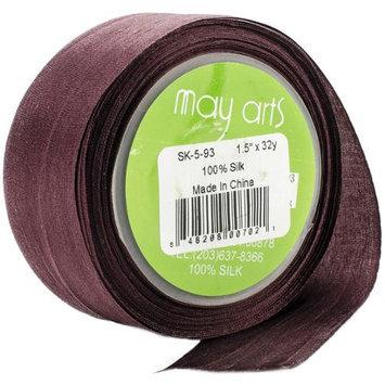 May Arts SK-5-93 100% Silk Ribbon 1-1/2X32yd-Brown