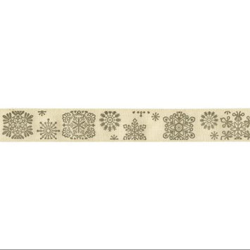May Arts 413-34-20 Ivory Print Ribbon 3/4X30yd-Snowflakes