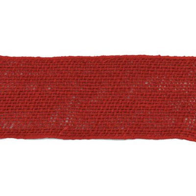 May Arts Wired Burlap Ribbon 2-1/2X10yd-Red Pack Of 10
