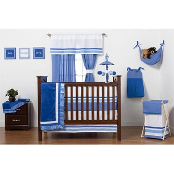 One Grace Place 10-18b102 Simplicity Blue Infant 4 Piece Crib Bedding Set