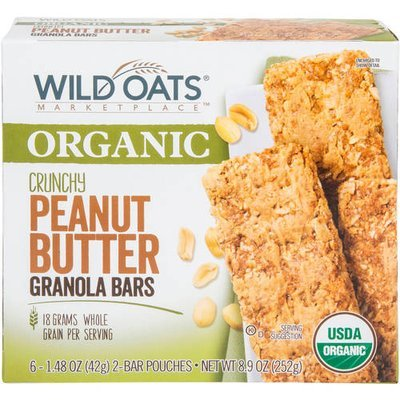 Wild Oats Marketplace Organic Crunchy Peanut Butter Granola Bars, 1.48 oz, 6 count