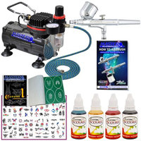 Master Airbrush Brand Tattoo System. With Master G22 Airbrush, Air Compressor, Deluxe Book of 100 Tattoo Stencils, 6' A