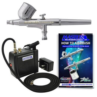 Master Airbrush Brand Model G22 Airbrushing System with Model C16-B Black Portable Mini Airbrush Air Compressor-The Com