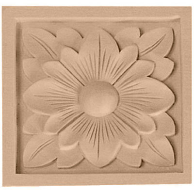 Ekena Millwork Medium Dogwood Flower Square Wood Rosette ROS03X03DGAL