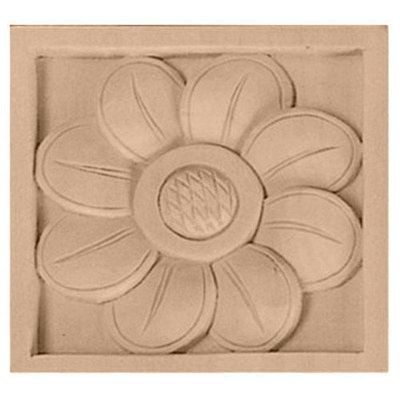 Ekena Millwork Small Sunflower Square Wood Rosette ROS03X03X00SFCH