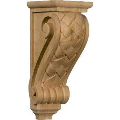 Ekena Millwork 5-in x 14-in Alder Basket Weave Wood Corbel