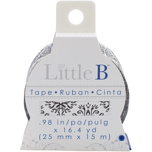 Little B Decorative Paper Tape 25mmx15m-White Grosgrain