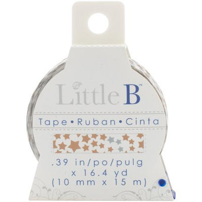 Little B LBT8mm-022 Little B Decorative Paper Tape 8mmx15m-Silver & Gold Stars