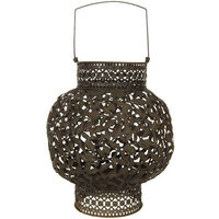 Oriental Furniture Rust Patina Wrought Iron Lantern
