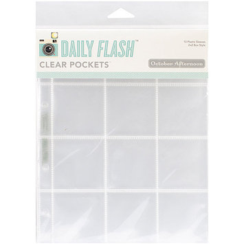 October Afternoon 6X8SL-1073 Daily Flash Pocket Sleeve Protectors 6 in. X8 in. 10-Pkg-Holds - 4 3 in. X3 in. & - 1 6 in. X2 in.