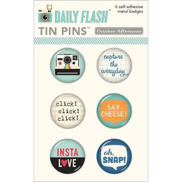 October Afternoon Daily Flash Snapshots Tin Pins Adhesive Metal Badges 6/Pkg