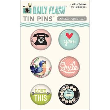 October Afternoon Daily Flash Girl Talk Tin Pins Adhesive Metal Badges 6/Pkg