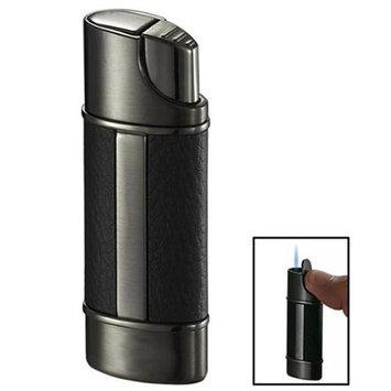 Visol Piccolo Leather & Gunmetal Wind-Resistant Jet Flame Lighter
