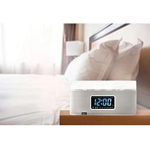 BEM Wireless Bedside Speaker Clock with Light (White)
