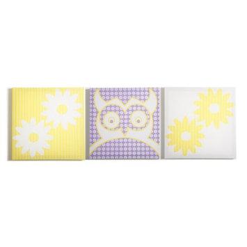Modern Littles Sweets Pretty Owl Flowers Canvas Print - Set of 3