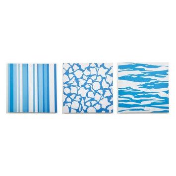 Modern Littles Sky Blue Giraffe and Stripes Canvas Print - Set of 3