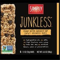 Simply Eight Junkless Chewy Granola Bars Peanut Butter Chocolate Chip 6 Bars